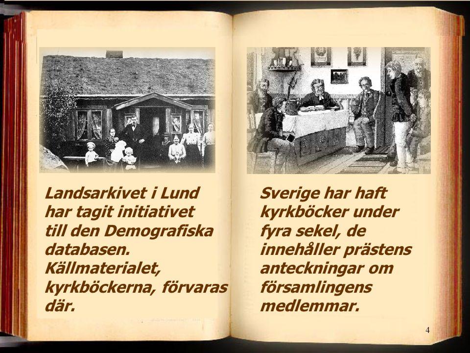 Landsarkivet i Lund har tagit initiativet till den Demografiska databasen. Källmaterialet, kyrkböckerna, förvaras där.