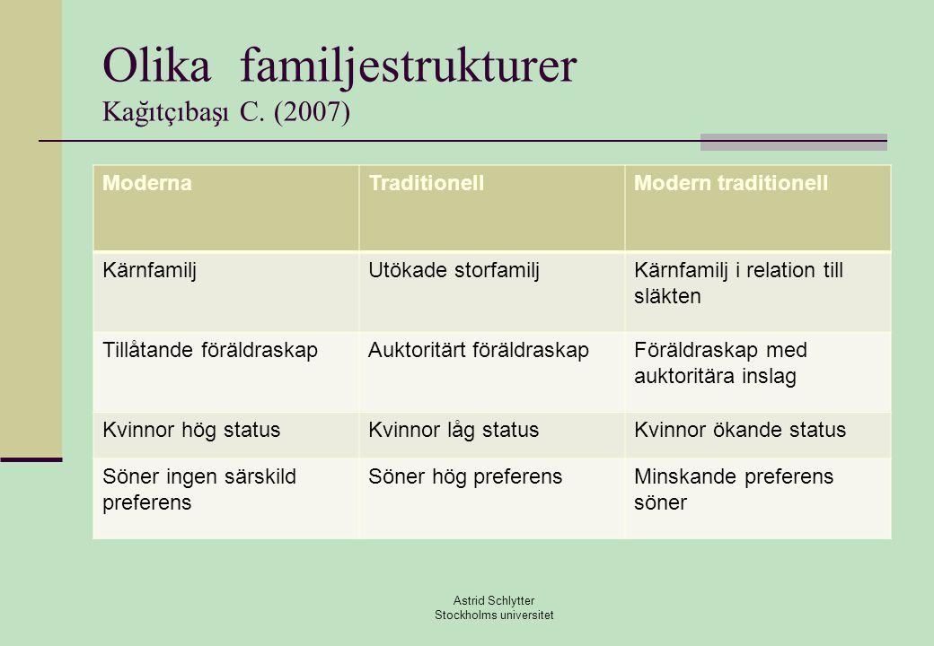 Olika familjestrukturer Kağıtçıbaşı C. (2007)