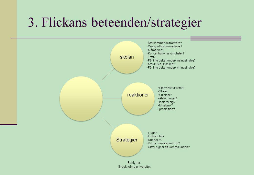 3. Flickans beteenden/strategier