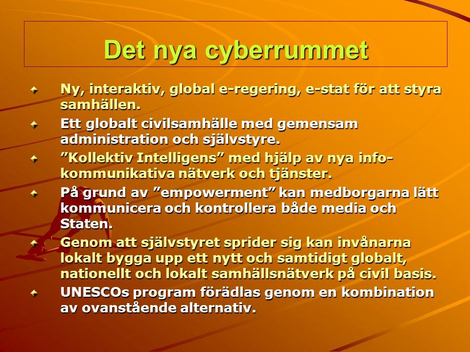 Det nya cyberrummet Ny, interaktiv, global e-regering, e-stat för att styra samhällen.