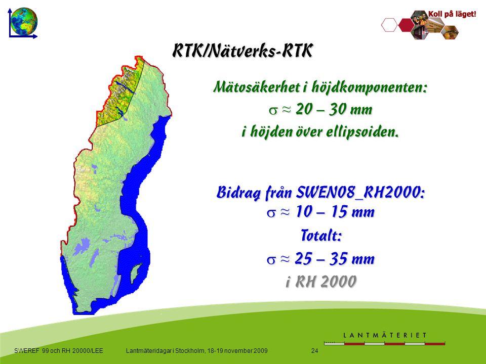 Bidrag från SWEN08_RH2000:  ≈ 10 – 15 mm Totalt:  ≈ 25 – 35 mm