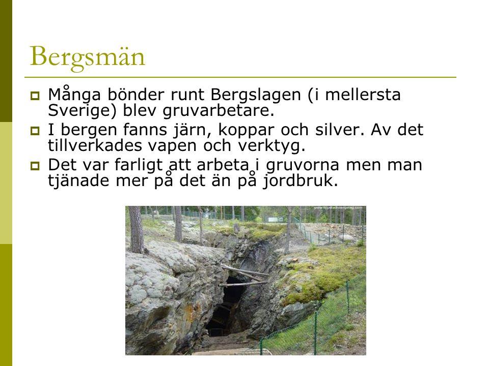 Bergsmän Många bönder runt Bergslagen (i mellersta Sverige) blev gruvarbetare.