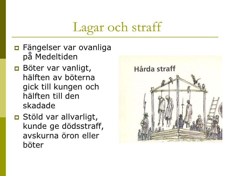 Lagar och straff Fängelser var ovanliga på Medeltiden