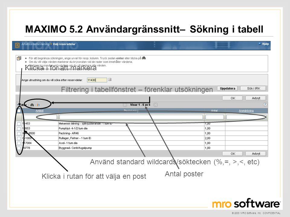 MAXIMO 5.2 Användargränssnitt– Sökning i tabell