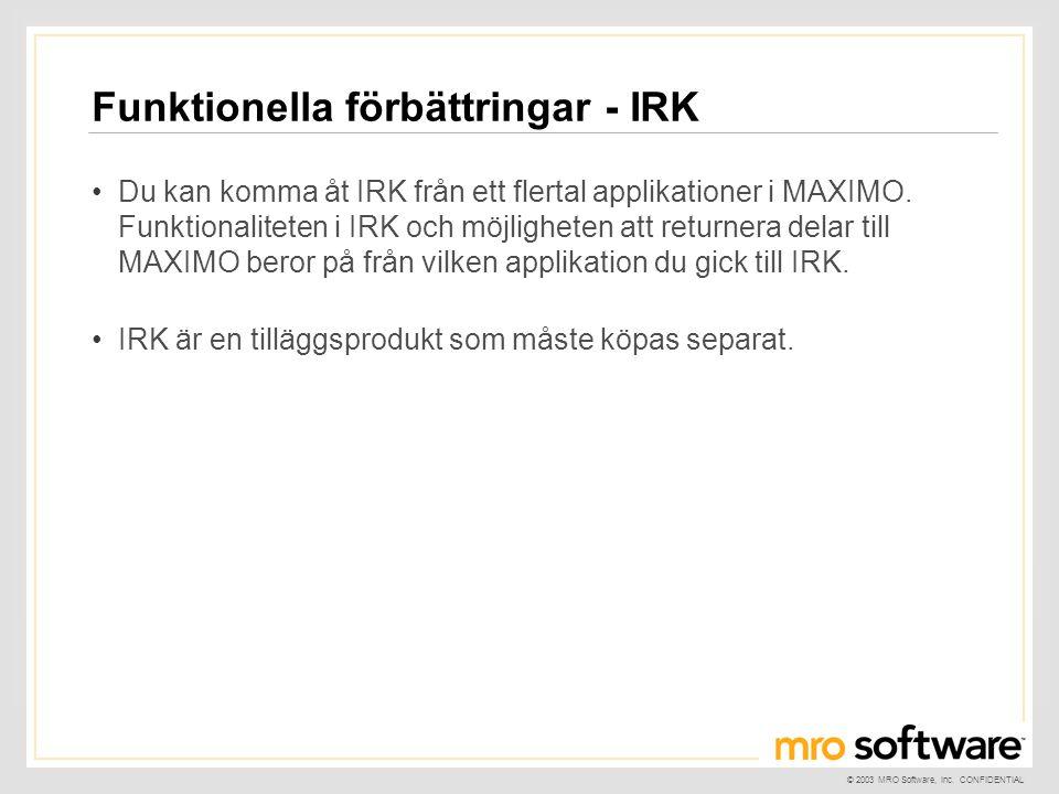 Funktionella förbättringar - IRK