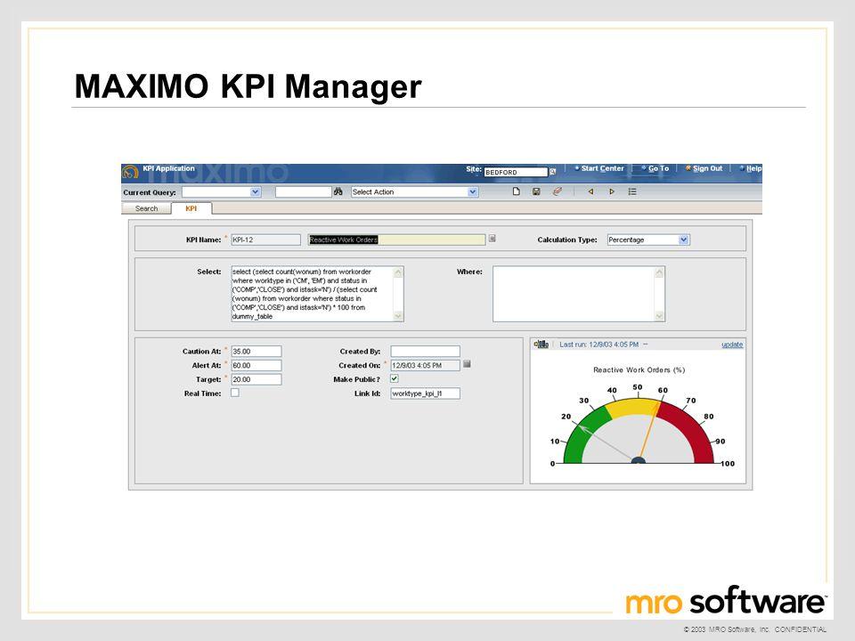 MAXIMO KPI Manager