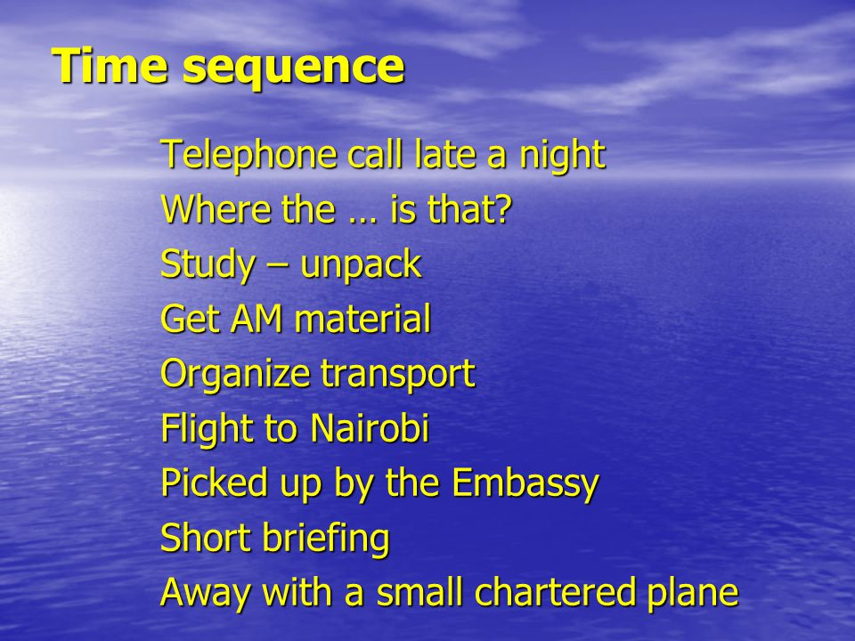 Time sequence Telephone call late a night Where the … is that