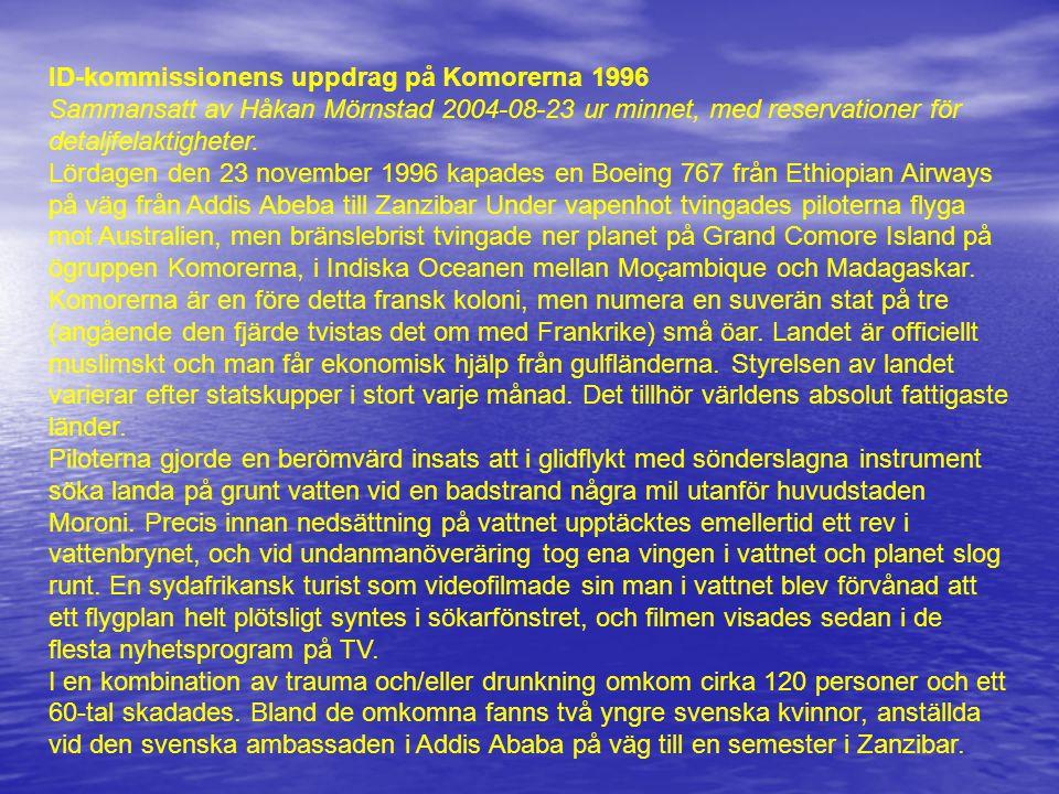 ID-kommissionens uppdrag på Komorerna 1996