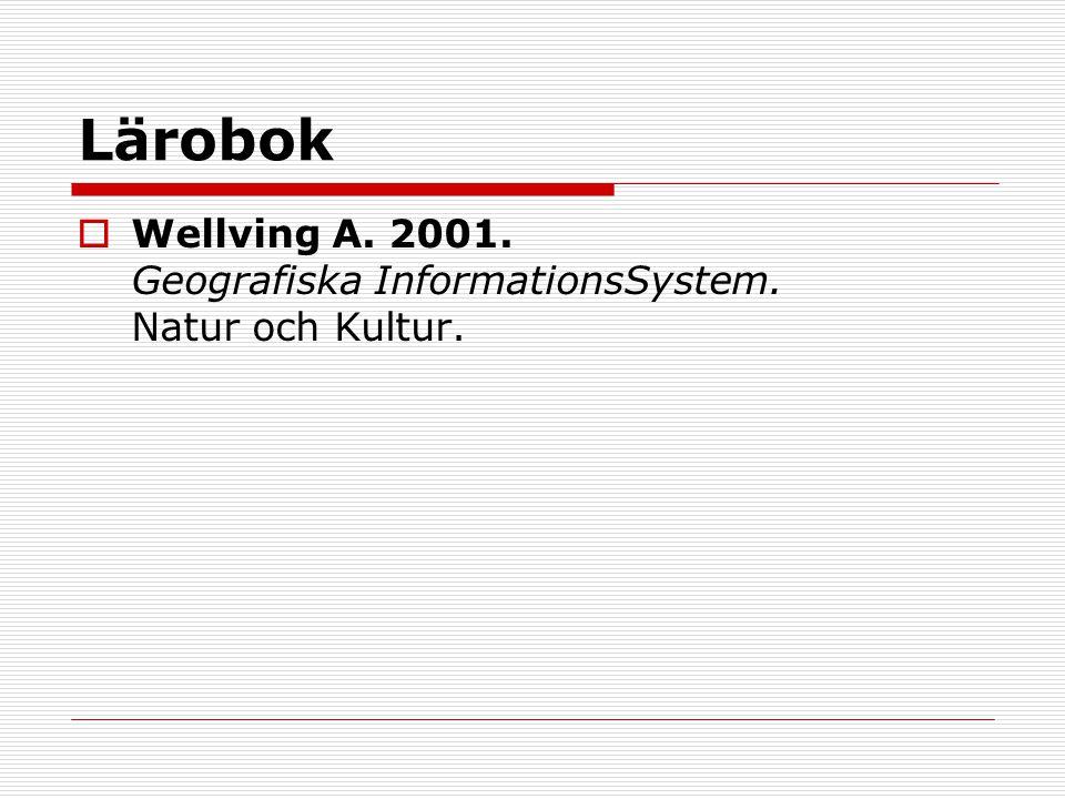 Lärobok Wellving A. 2001. Geografiska InformationsSystem. Natur och Kultur.