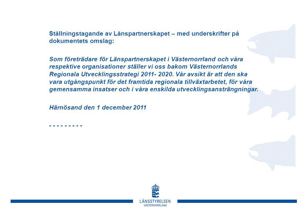 Ställningstagande av Länspartnerskapet – med underskrifter på dokumentets omslag: