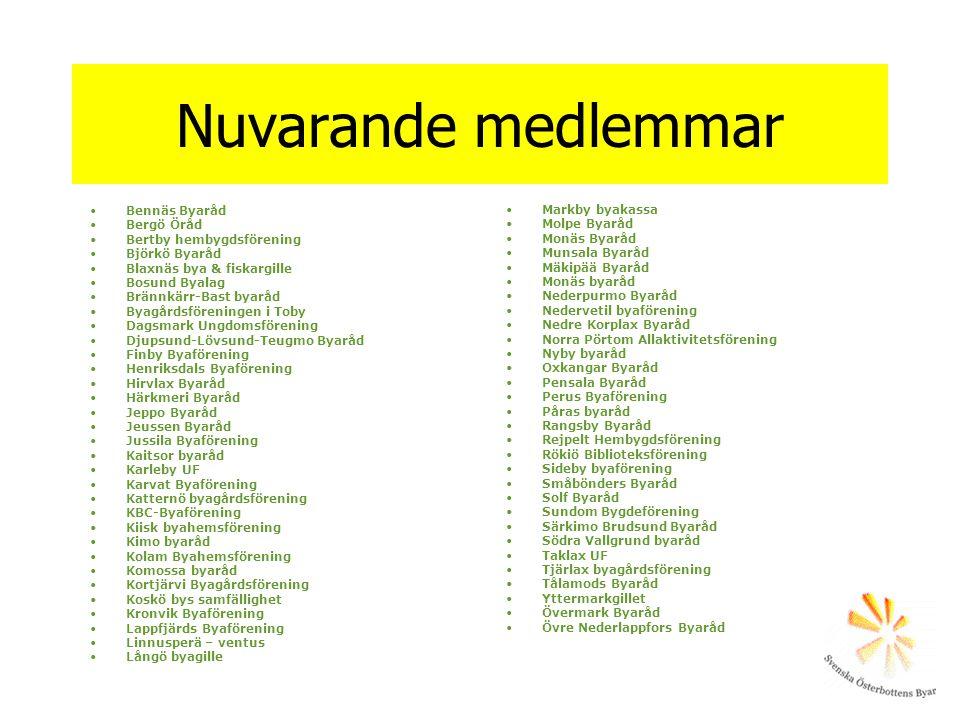 Nuvarande medlemmar Bennäs Byaråd Markby byakassa Bergö Öråd