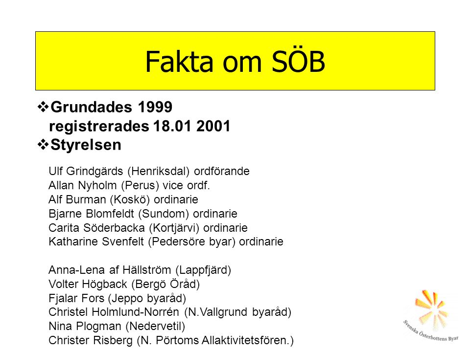Fakta om SÖB Grundades 1999 registrerades 18.01 2001 Styrelsen