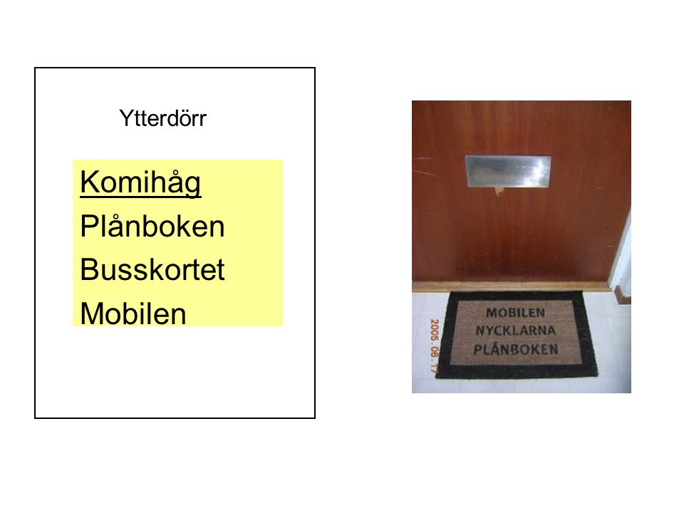 Ytterdörr Komihåg Plånboken Busskortet Mobilen