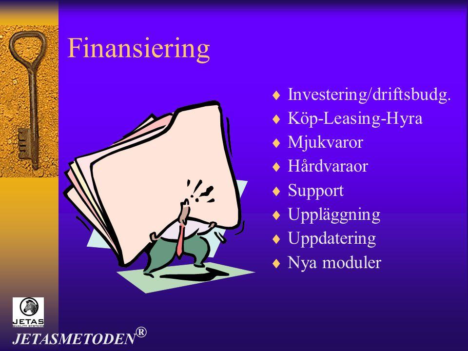Finansiering Investering/driftsbudg. Köp-Leasing-Hyra Mjukvaror