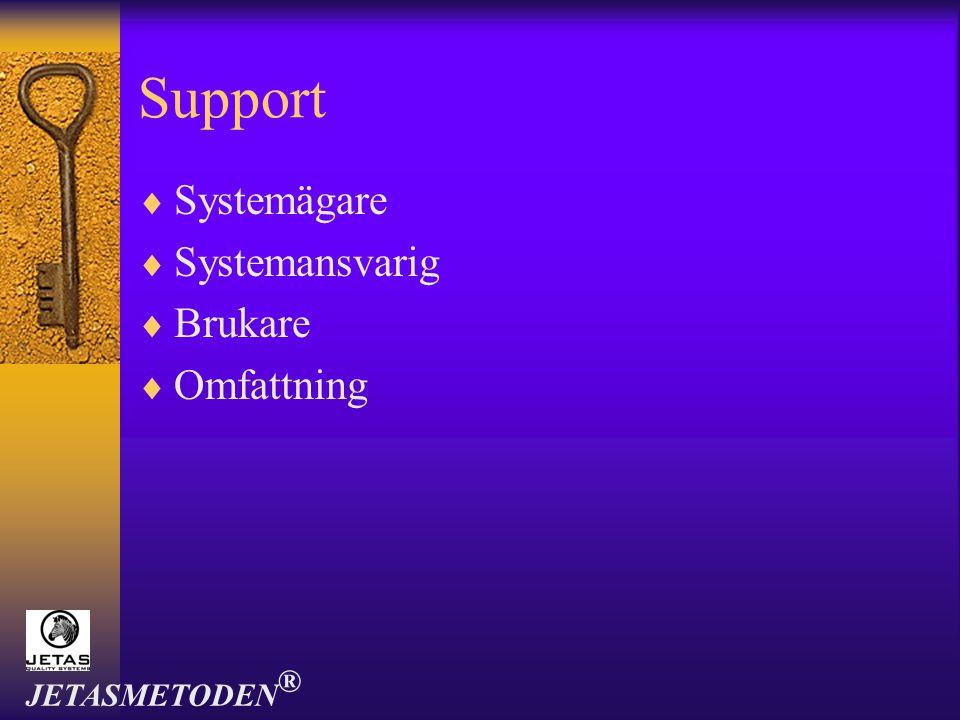Support Systemägare Systemansvarig Brukare Omfattning JETASMETODEN®