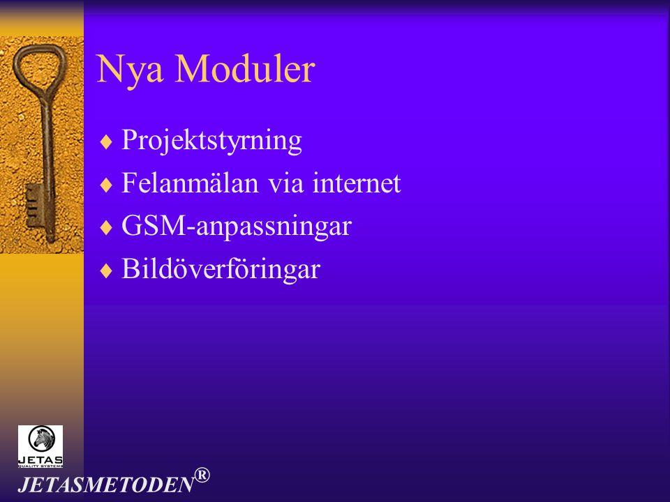 Nya Moduler Projektstyrning Felanmälan via internet GSM-anpassningar