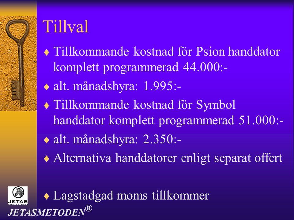 Tillval Tillkommande kostnad för Psion handdator komplett programmerad 44.000:- alt. månadshyra: 1.995:-
