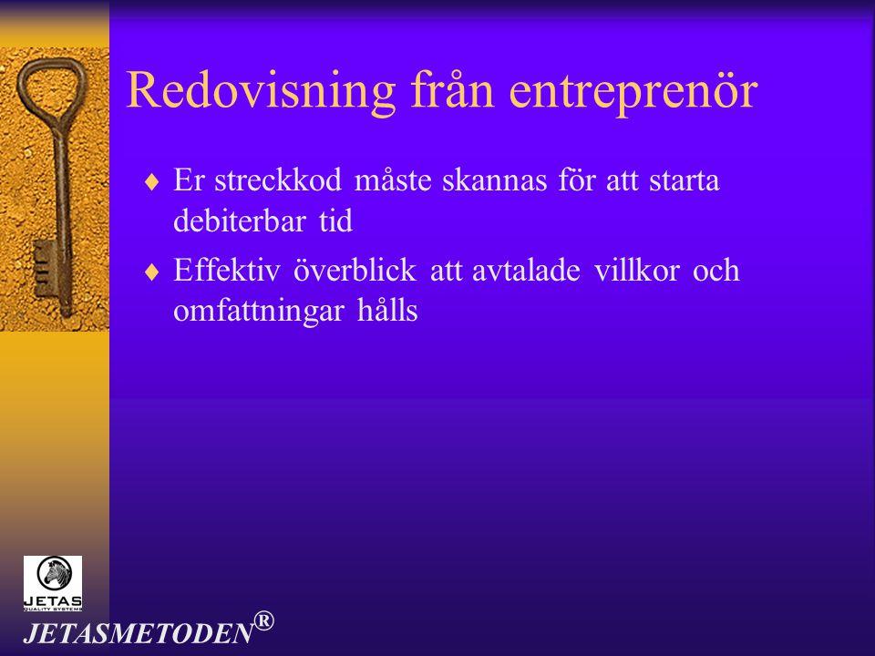 Redovisning från entreprenör