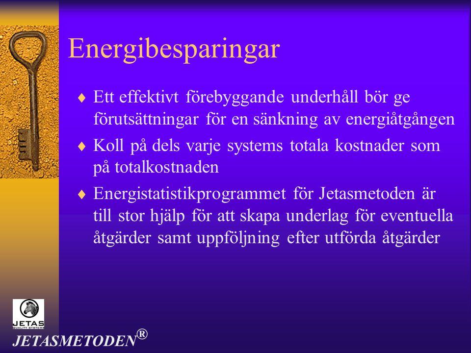 Energibesparingar Ett effektivt förebyggande underhåll bör ge förutsättningar för en sänkning av energiåtgången.