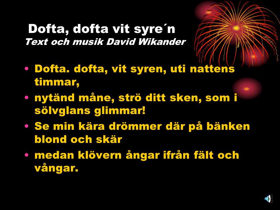 Dofta, dofta vit syre´n Text och musik David Wikander