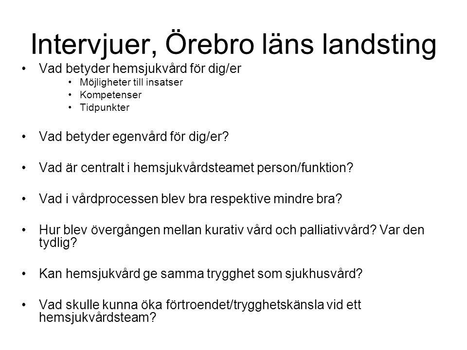 Intervjuer, Örebro läns landsting