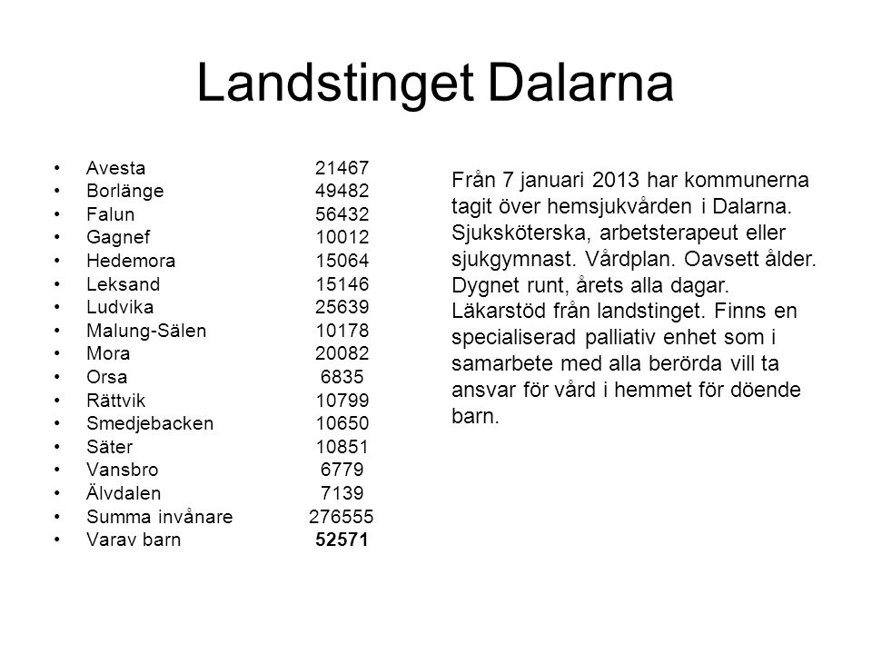 Landstinget Dalarna Avesta 21467. Borlänge 49482. Falun 56432. Gagnef 10012. Hedemora 15064.