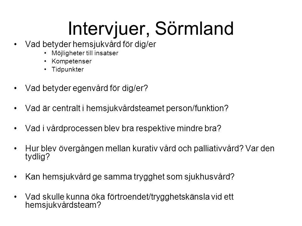 Intervjuer, Sörmland Vad betyder hemsjukvård för dig/er