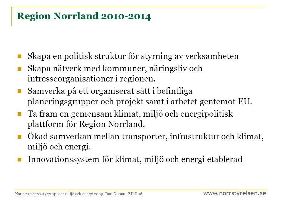 Region Norrland 2010-2014 Skapa en politisk struktur för styrning av verksamheten.
