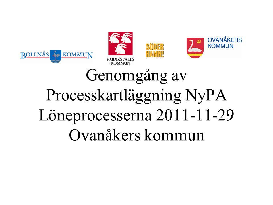 Genomgång av Processkartläggning NyPA Löneprocesserna 2011-11-29 Ovanåkers kommun