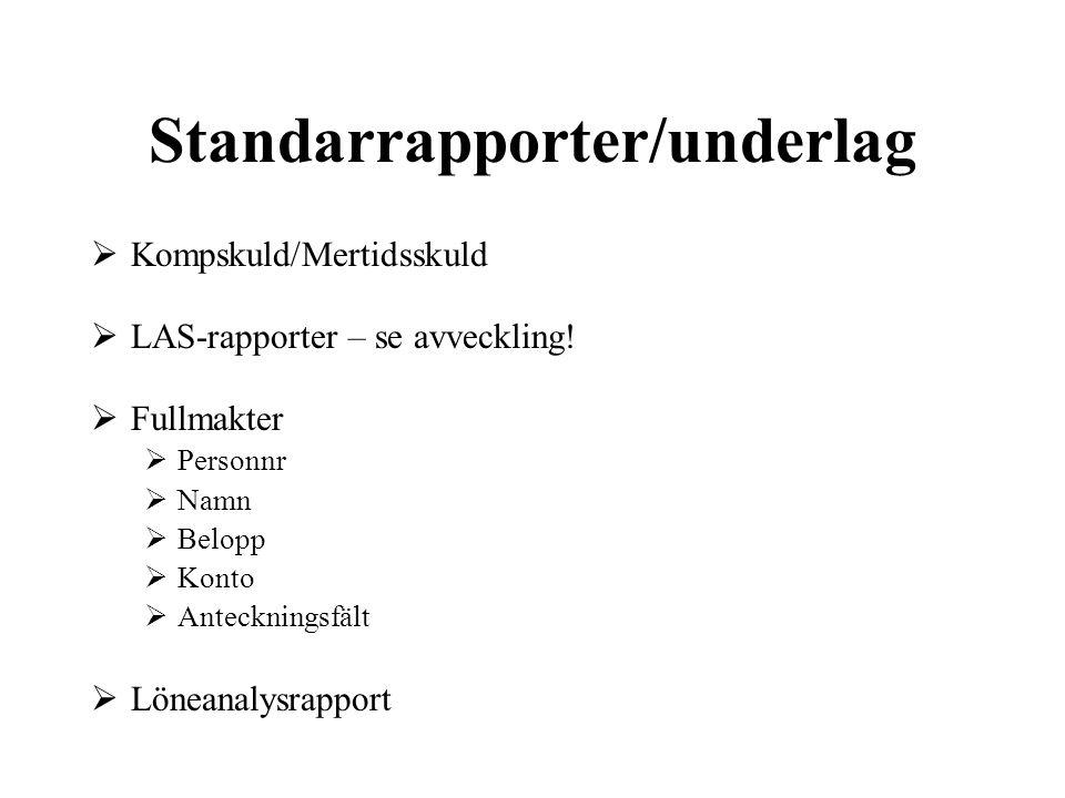 Standarrapporter/underlag
