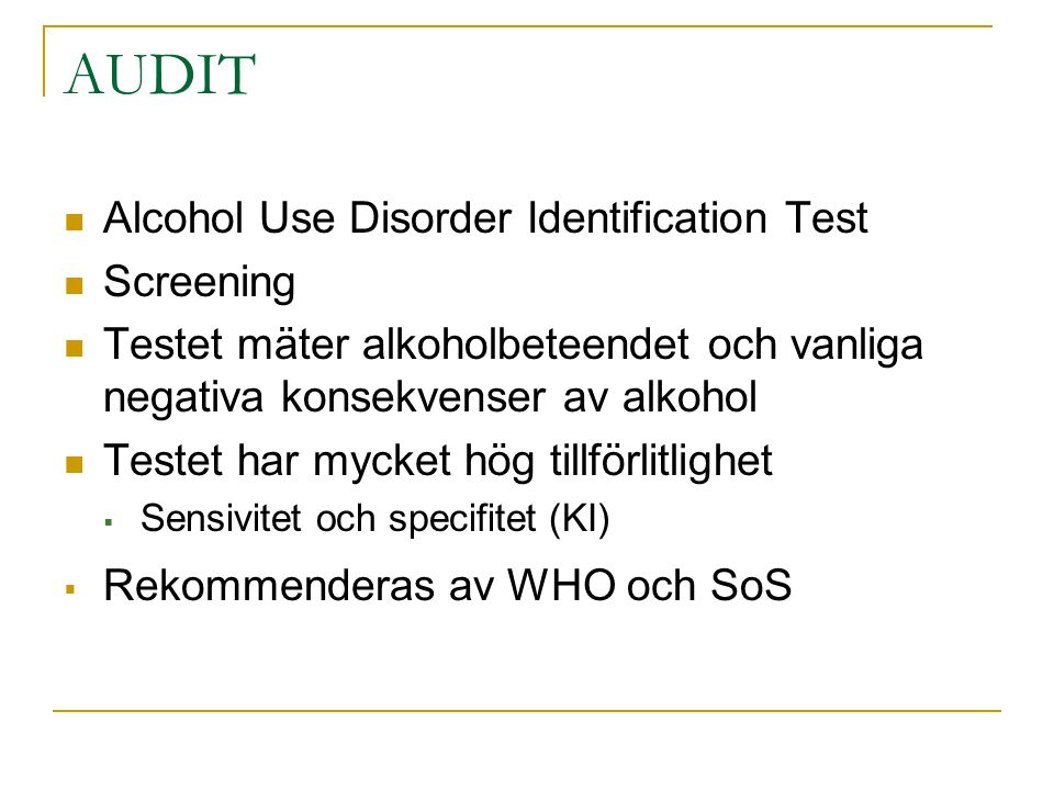 AUDIT Alcohol Use Disorder Identification Test Screening