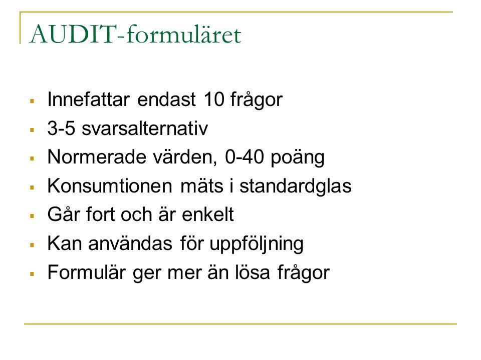 AUDIT-formuläret Innefattar endast 10 frågor 3-5 svarsalternativ