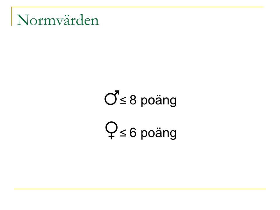 Normvärden ♂≤ 8 poäng ♀≤ 6 poäng