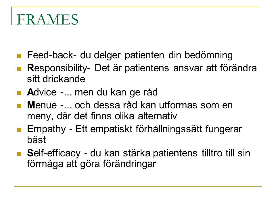 FRAMES Feed-back- du delger patienten din bedömning