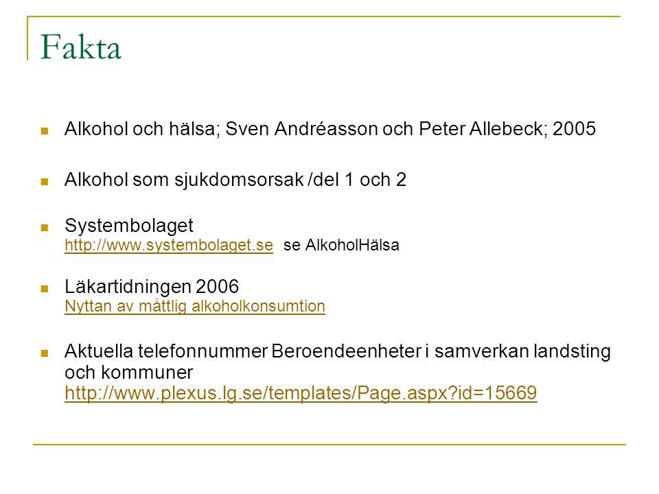 Fakta Alkohol och hälsa; Sven Andréasson och Peter Allebeck; 2005