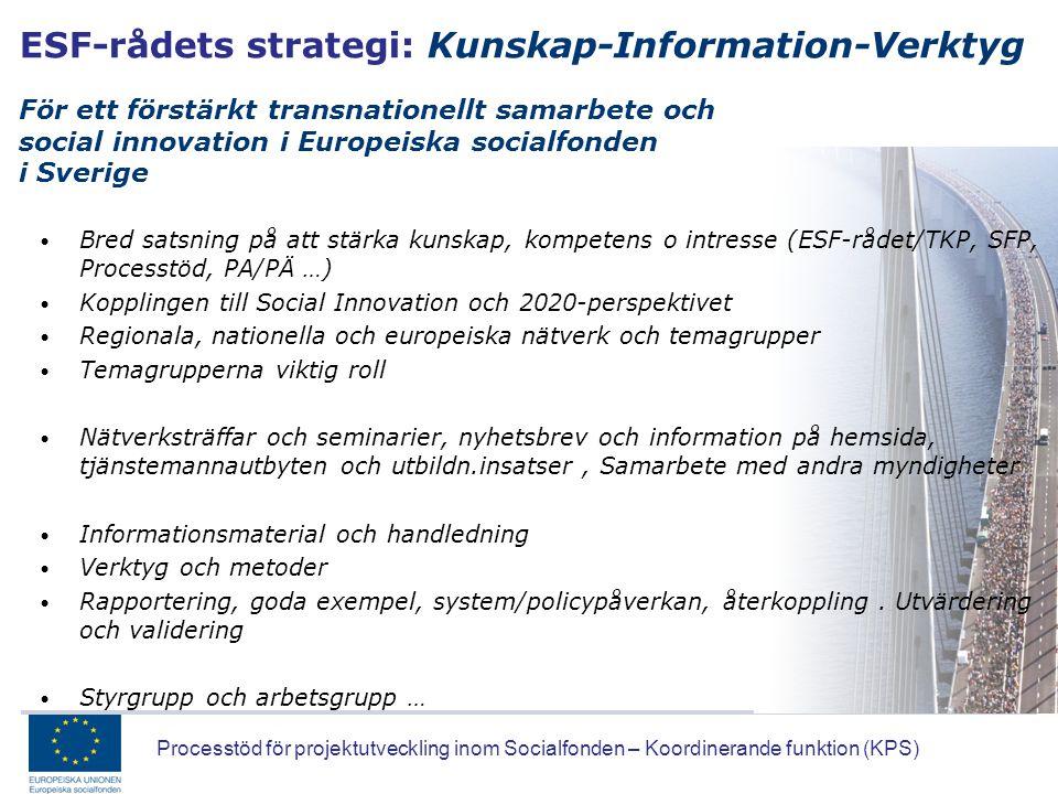 ESF-rådets strategi: Kunskap-Information-Verktyg För ett förstärkt transnationellt samarbete och social innovation i Europeiska socialfonden i Sverige