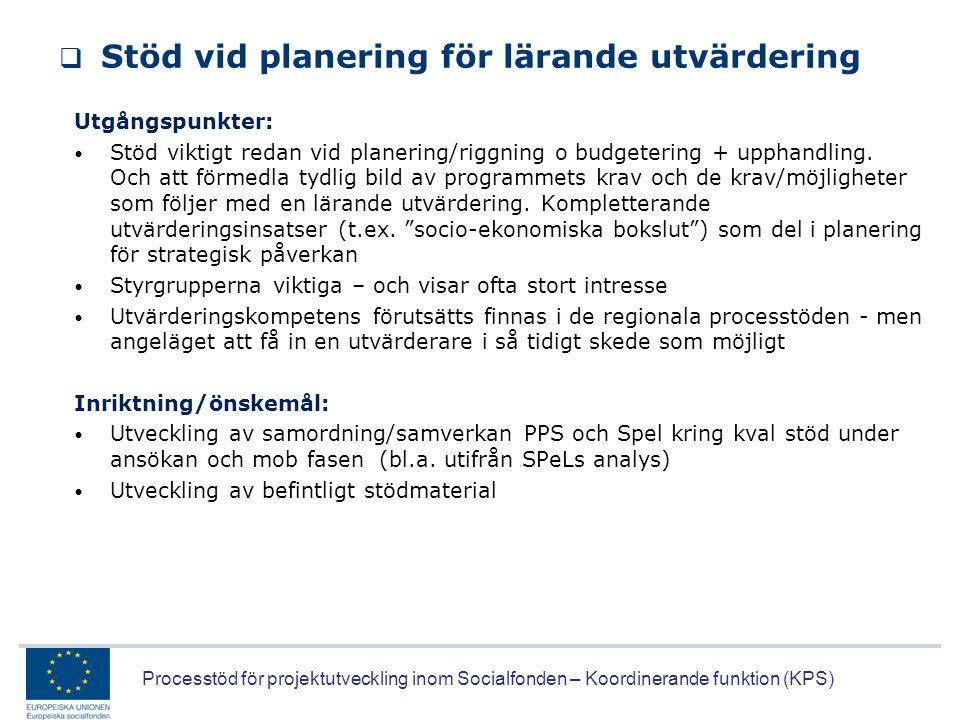 Stöd vid planering för lärande utvärdering