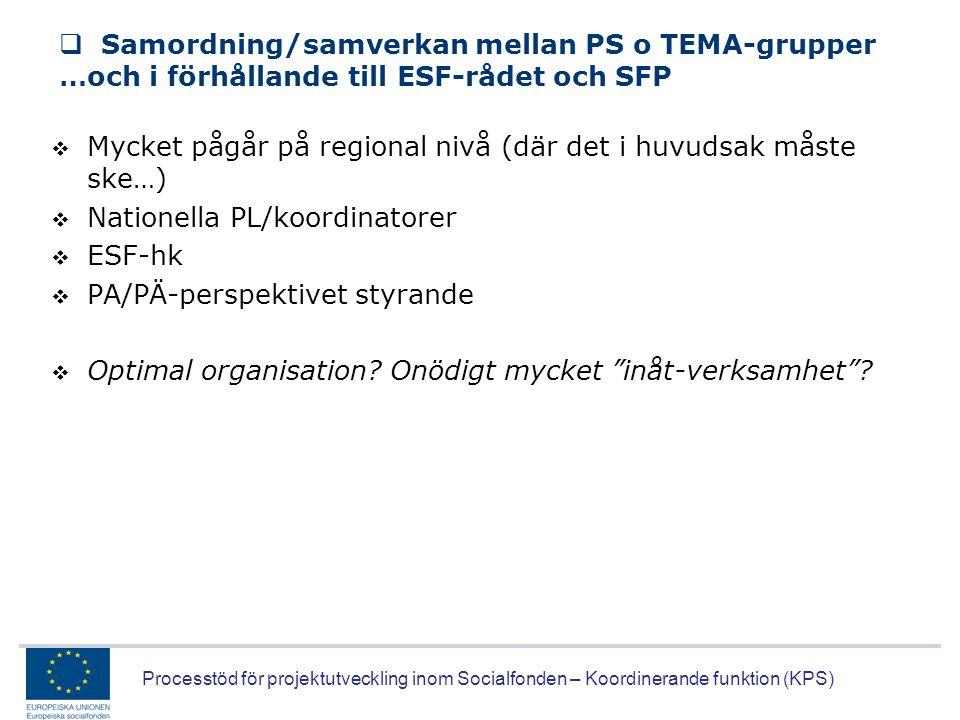 Samordning/samverkan mellan PS o TEMA-grupper …och i förhållande till ESF-rådet och SFP