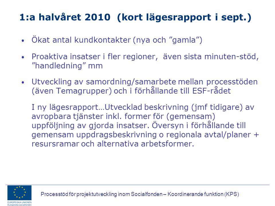 1:a halvåret 2010 (kort lägesrapport i sept.)