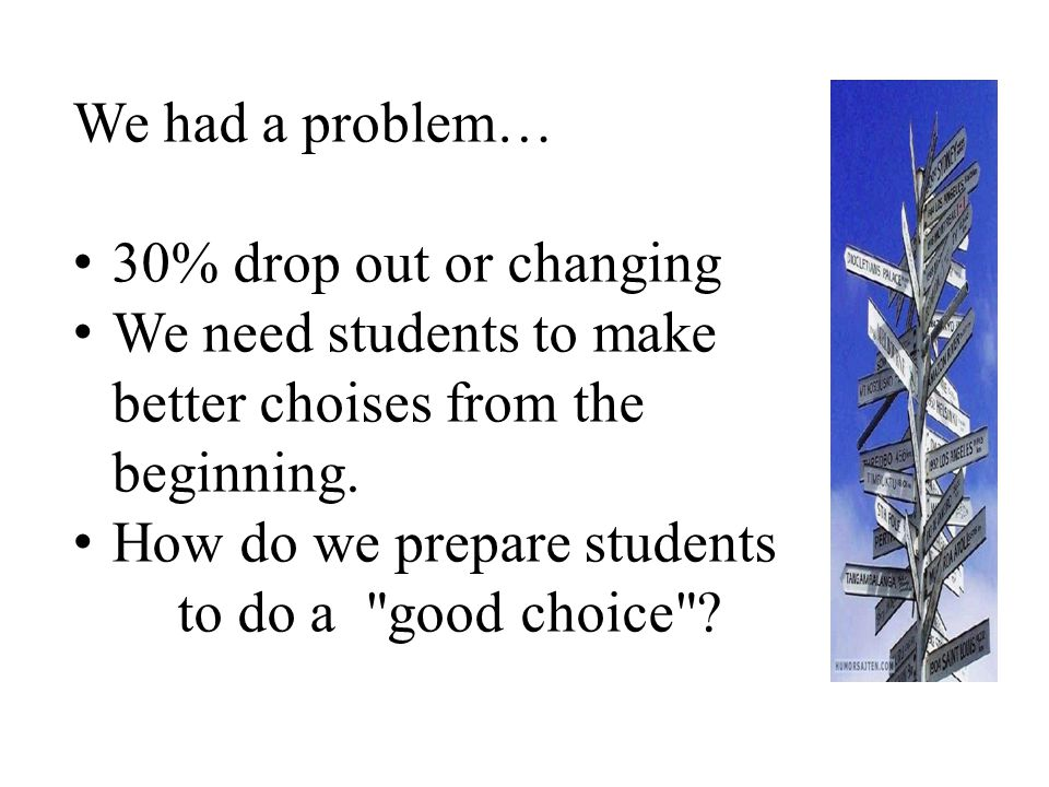 We had a problem… 30% drop out or changing. We need students to make better choises from the beginning.