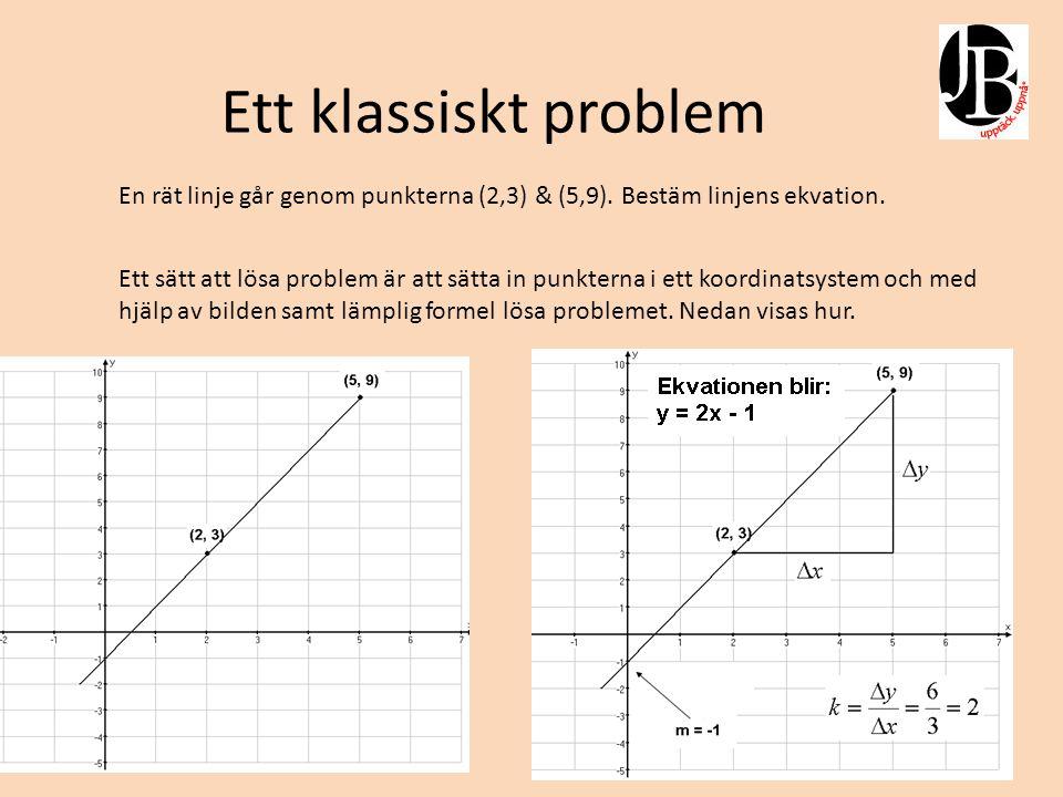 Ett klassiskt problem En rät linje går genom punkterna (2,3) & (5,9). Bestäm linjens ekvation.