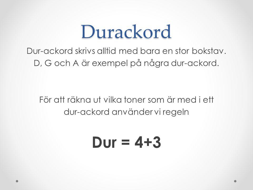 Durackord Dur = 4+3 Dur-ackord skrivs alltid med bara en stor bokstav.
