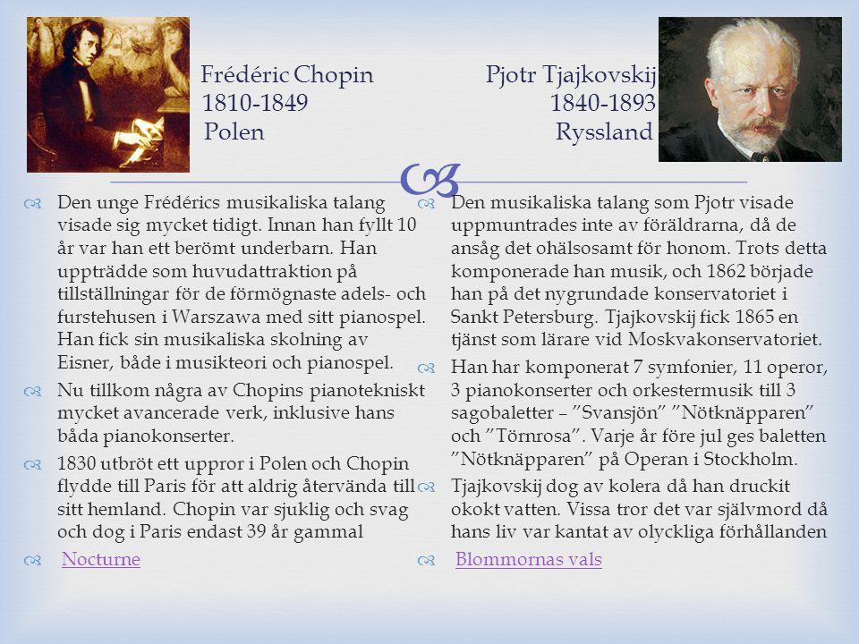 Frédéric Chopin Pjotr Tjajkovskij 1810-1849 1840-1893 Polen Ryssland
