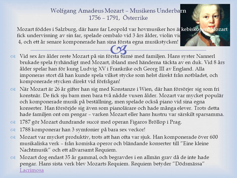 Wolfgang Amadeus Mozart – Musikens Underbarn 1756 – 1791, Österrike
