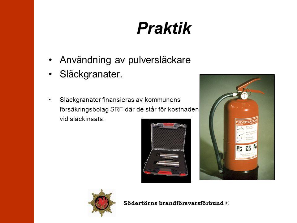 Praktik Användning av pulversläckare Släckgranater.