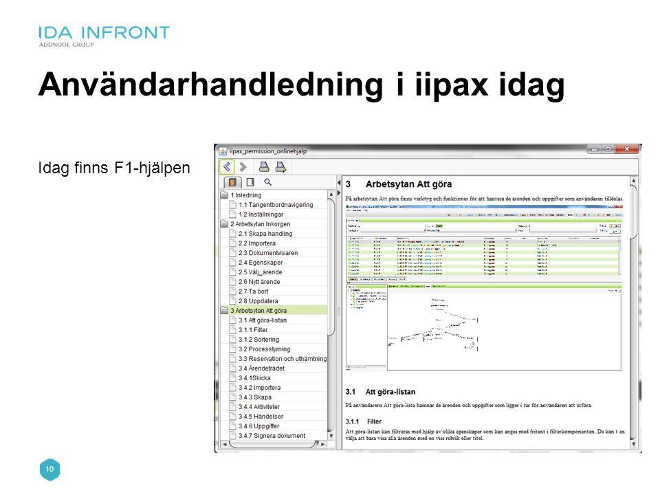 Användarhandledning i iipax idag