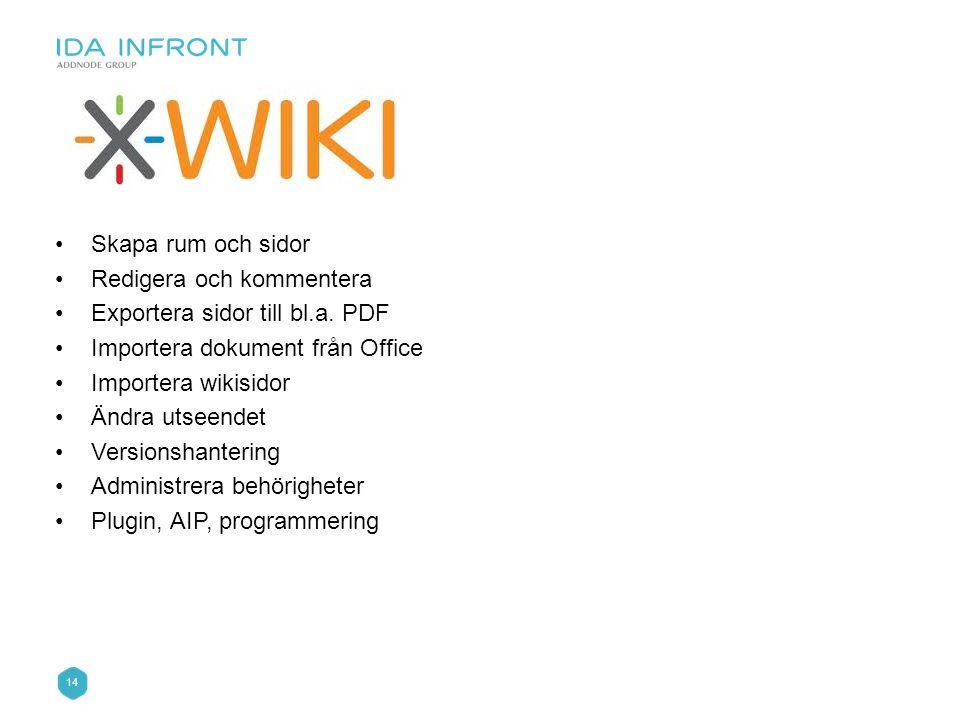 Skapa rum och sidor Redigera och kommentera. Exportera sidor till bl.a. PDF. Importera dokument från Office.