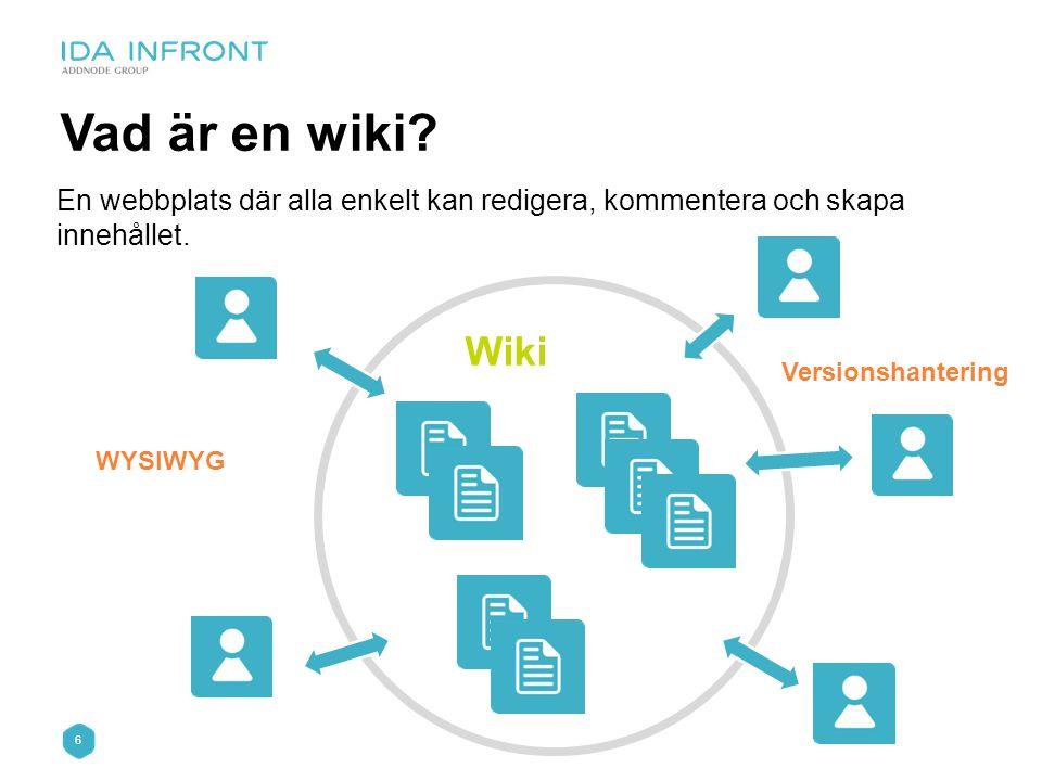 Vad är en wiki En webbplats där alla enkelt kan redigera, kommentera och skapa innehållet. Wiki. Versionshantering.