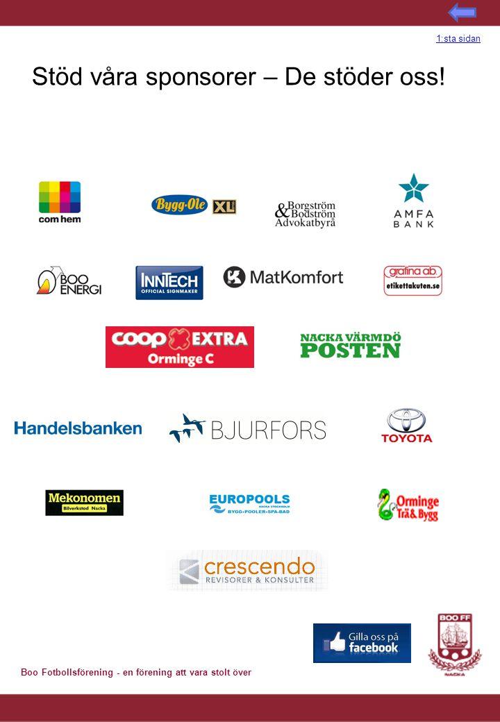 Stöd våra sponsorer – De stöder oss!