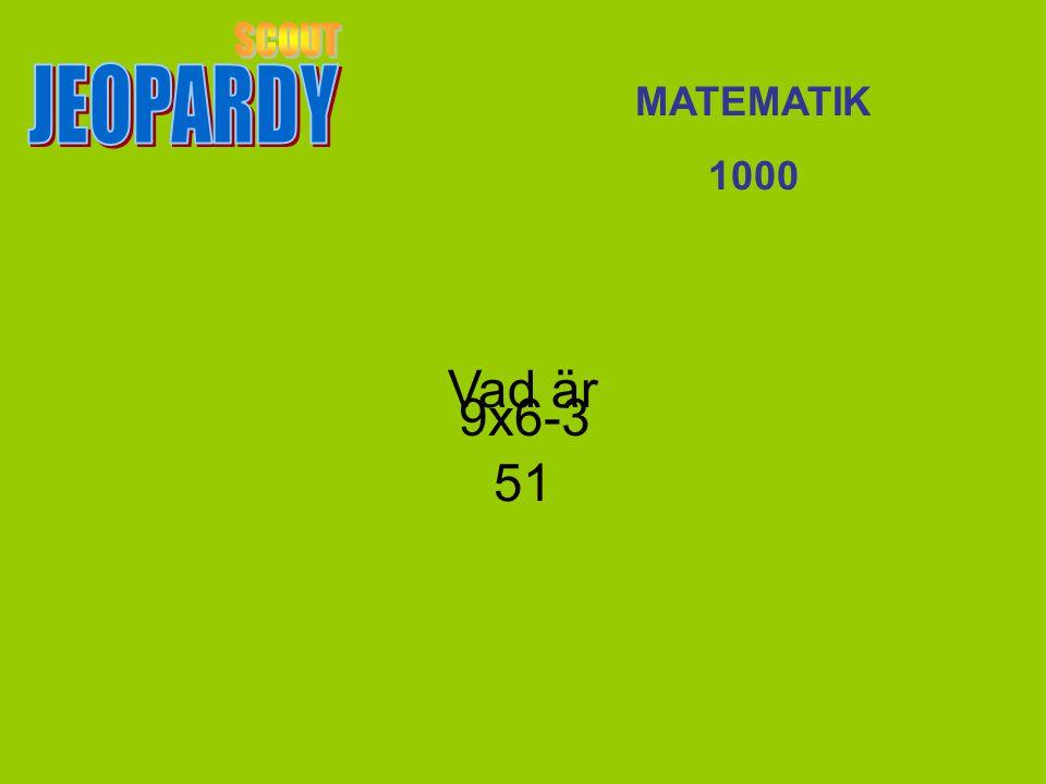 JEOPARDY SCOUT MATEMATIK 1000 Vad är 51 9x6-3